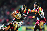 Ed Slater of Leicester Tigers takes on the Harlequins defence. Aviva Premiership match, between Leicester Tigers and Harlequins on November 20, 2016 at Welford Road in Leicester, England. Photo by: Patrick Khachfe / JMP
