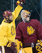 Mike Seidel (Duluth - 17), Christian Gaffy (Duluth - 30) - The University of Minnesota-Duluth Bulldogs practiced on Friday morning, April 8, 2011, during the 2011 Frozen Four at the Xcel Energy Center in St. Paul, Minnesota.