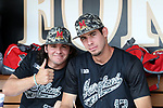 WINSTON-SALEM, NC - JUNE 04: Maryland's Brian Shaffer (13) and Madison Nickens (23). The West Virginia University Mountaineers played the University of Maryland Terrapins on June 4, 2017, at David F. Couch Ballpark in Winston-Salem, NC in NCAA Division I College Baseball Tournament Winston-Salem Regional Game 5. West Virginia won the game 8-5.
