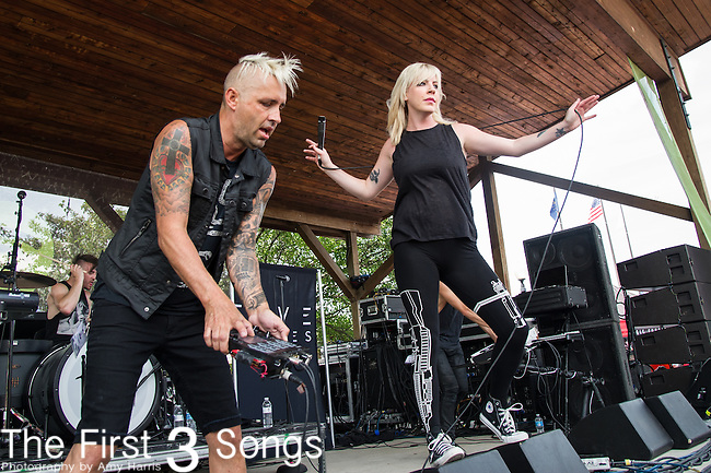 Zach Hall and Anna Worstell of Five Knives performs during the Vans Warped Tour at the Klipsch Music Center in Indianapolis, IN.