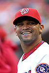 15 September 2007: Washington Nationals infielder D'Angelo Jimenez smiles in the dugout prior to a game against the Atlanta Braves at Robert F. Kennedy Memorial Stadium in Washington, DC. The Nationals defeated the Braves 7-4 in the second game of their 3-game series...Mandatory Photo Credit: Ed Wolfstein Photo