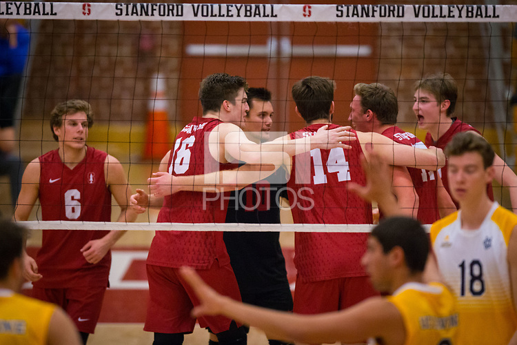 STANFORD, CA - March 10, 2018: Russell Dervay, Matt Klassen, Evan Enriques, Kyler Presho, Eli Wopat, Leo Henken at Burnham Pavilion. UC Irvine defeated the Stanford Cardinal, 3-0.