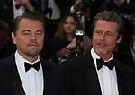 """72nd edition of the Cannes Film Festival in Cannes in Cannes, southern France on May 21, 2019. Red Carpet for the screening of the film """"Once Upon a Time... in Hollywood"""" US actor Leonardo DiCaprio, US actor Brad Pitt on the red carpet.<br /> © Pierre Teyssot / Maxppp"""