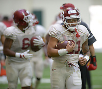 NWA Democrat-Gazette/ANDY SHUPE<br /> Arkansas running back Devwah Whaley carries the ball Saturday, March 10, 2018, during practice at the university practice field in Fayetteville. Visit nwadg.com/photos to see more photos from practice.