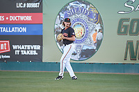 San Jose Giants starting pitcher Garrett Cave (32) warms up before a California League game against the Visalia Rawhide on April 12, 2019 at San Jose Municipal Stadium in San Jose, California. Visalia defeated San Jose 6-2. (Zachary Lucy/Four Seam Images)