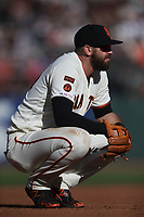 SAN FRANCISCO, CA - AUGUST 11:  Evan Longoria #10 of the San Francisco Giants squats at third base during the game against the Philadelphia Phillies at Oracle Park on Sunday, August 11, 2019 in San Francisco, California. (Photo by Brad Mangin)
