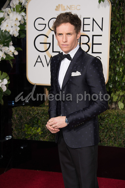 Eddie Redmayne, Golden Globe nominee for BEST PERFORMANCE BY AN ACTOR IN A MOTION PICTURE &ndash; DRAMA for his role in &quot;The Danish Girl,&quot; arrives at the 73rd Annual Golden Globe Awards at the Beverly Hilton in Beverly Hills, CA on Sunday, January 10, 2016.<br /> Photo Credit: HFPA/AdMedia