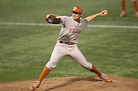 Texas Longhorns pitcher Toller Boardman #37 pitches during a game against the Minnesota Golden Gophers at the Metrodome on March 22, 2013 in Minneapolis, Minnesota. (Brace Hemmelgarn/Four Seam Images)