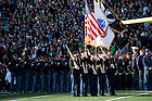 Nov. 14, 2015; Army ROTC cadets serve as the Color Guard for the Wake Forest game. (Photo by Matt Cashore)