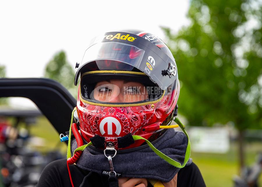 May 18, 2018; Topeka, KS, USA; NHRA top fuel driver Leah Pritchett during qualifying for the Heartland Nationals at Heartland Motorsports Park. Mandatory Credit: Mark J. Rebilas-USA TODAY Sports