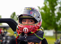 May 18, 2018; Topeka, KS, USA; NHRA top fuel driver Leah Pritchett during qualifying for the Heartland Nationals at Heartland Motorsports Park. Mandatory Credit: Mark J. Rebilas-USA TODAY Sports