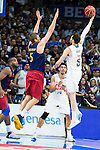 Real Madrid's player Rudy Fernandez and Barcelona's player Justin Doellman during Liga Endesa 2015/2016 Finals 3rd leg match at Barclaycard Center in Madrid. June 20, 2016. (ALTERPHOTOS/BorjaB.Hojas)