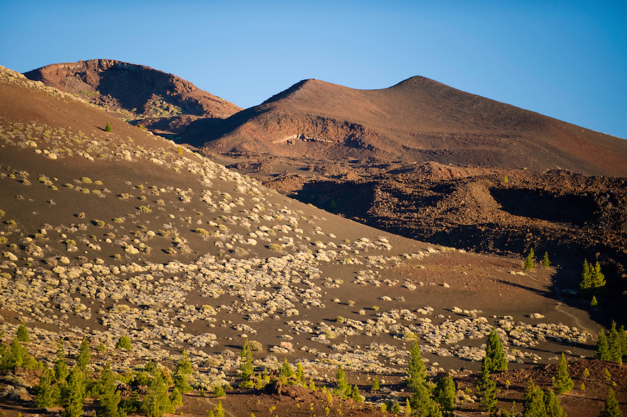 "The Teide volcano (the highest mountain of Spain, 3.718 m), and the ""Pico Viejo"" (2.909) (right) from Montaña Samara, at sunset. Teide National Park, Tenerife Island, Canary Islands, Spain."