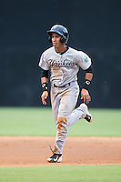 Oswaldo Cabrera (69) of the Pulaski Yankees hustles towards third base against the Danville Braves at American Legion Post 325 Field on August 2, 2016 in Danville, Virginia.  The game was cancelled due to rain.  (Brian Westerholt/Four Seam Images)