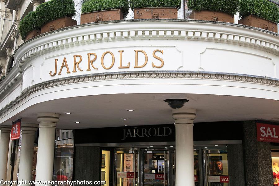 Historic shop front sign Jarrolds department store, Norwich, Norfolk, England, UK