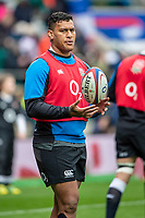 Twickenham, United Kingdom. 7th February, Nathen HUGHES, pre game warp up, England vs France, 2019 Guinness Six Nations Rugby Match   played at  the  RFU Stadium, Twickenham, England, <br /> &copy; PeterSPURRIER: Intersport Images