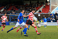 Louie Theophanous of Kingstonian scores the 2nd of the game during Macclesfield Town vs Kingstonian, Emirates FA Cup Football at the Moss Rose Stadium on 10th November 2019