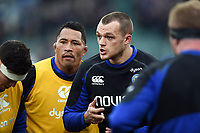 Zach Mercer of Bath Rugby speaks to his team-mates during the pre-match warm-up. Heineken Champions Cup match, between Bath Rugby and Wasps on January 12, 2019 at the Recreation Ground in Bath, England. Photo by: Patrick Khachfe / Onside Images