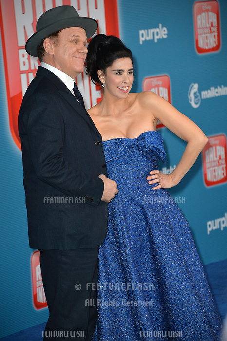 LOS ANGELES, CA. November 05, 2018: John C. Reilly &amp; Sarah Silverman at the world premiere of &quot;Ralph Breaks The Internet&quot; at the El Capitan Theatre.<br /> Picture: Paul Smith/Featureflash