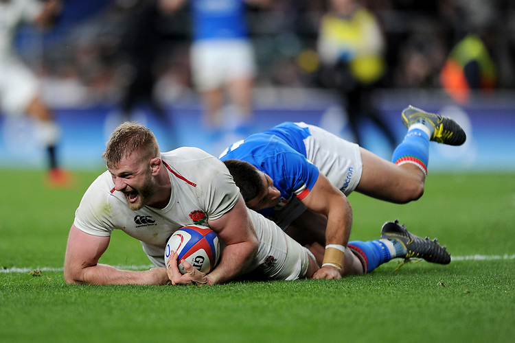 George Kruis of England shows how much it means as he scores a try during the Guinness Six Nations match between England and Italy at Twickenham Stadium on Saturday 9th March 2019 (Photo by Rob Munro/Stewart Communications)