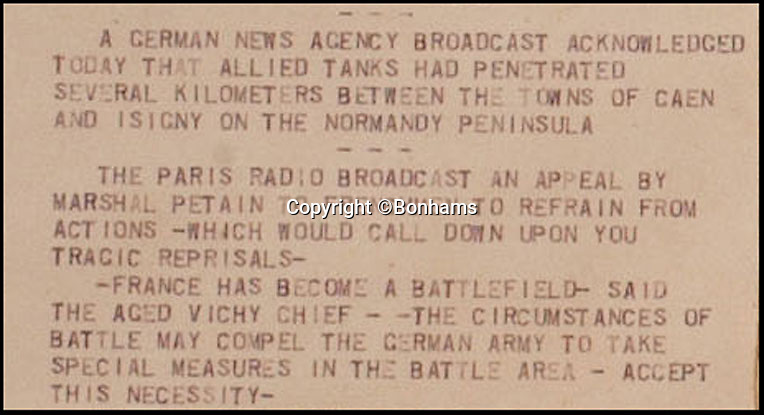 BNPS.co.uk (01202 558833)<br /> Pic: Bonhams/BNPS<br /> <br /> ****Must use full byline****<br /> <br /> German agency was actually the first to announce the invasion.<br /> <br /> A unique blow-by-blow report of the D-Day invasion which detailed the action as it unfolded has emerged for sale for £11,000 and will go under the hammer at Bonhams New York on June 5.<br /> <br /> The rolling news bulletins were filed hourly as more than 150,000 Allied soldiers stormed the beaches of Normandy in France at dawn of June 6, 1944.<br /> <br /> The constant stream of short updates were transmitted via telex and printed on ticker tape in an age before live news broadcasts, email and Twitter.<br /> <br /> They were sent out to newsrooms across the United States over the Dow Jones financial newswire throughout the invasion, the largest ever to take place.<br /> <br /> Normally ticker tape was thrown away once it had been used but a 13ft roll carrying 12 hours of D-Day updates somehow survived.<br /> <br /> Remarkably, it is the only one of its kind known to exist.