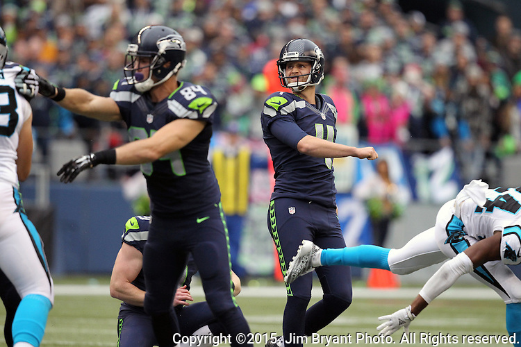 Seattle Seahawks kicker Steven Hauschka watches his 43-yard field goal attempt the Carolina Panthers  at CenturyLink Field in Seattle on October 18, 2015. The Panthers came from behind with 32 seconds remaining in the 4th Quarter to beat the Seahawks 27-23.  ©2015 Jim Bryant Photography. All Rights Reserved.
