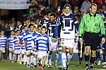20 March 2013: UNAM's Marco Antonio Palacios (MEX) (3) leads his team onto the field. The NASL Carolina RailHawks played LigaMX's Pumas de la UNAM at WakeMed Stadium in Cary, North Carolina in an international club friendly soccer game.