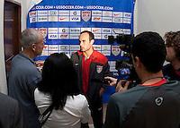 Landon Donovan gives interviews after FIFA World Cup qualifier against El Salvador. USA tied El Salvador 2-2 at Estadio Cuscatlán Stadium in El Salvador on March 28, 2009.