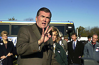 Pennsylvania Gov. Tom Ridge, speaks at a Pennsylvania Republican's Victory 2000 pep rally, in support of Republican Presidential candidate George W. Bush, Wednesday, Nov. 1, 2000, in Warrington, Pa. Ridge and a group of Pennsylvania Republicans are on a three-day bus tour of the state to rally support for Bush-Cheney. (Photo by William Thomas Cain/www.photojournalist.cc)