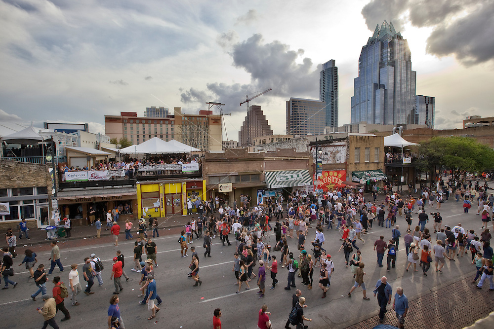 The SXSW party never stopped on 6th Street in during South by Southwest Annual music, film, and interactive conference and festival held in Austin