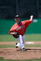 Batavia Muckdogs starting pitcher Martin Anderson (49) delivers a pitch during a game against the State College Spikes on July 8, 2018 at Dwyer Stadium in Batavia, New York.  Batavia defeated State College 8-3.  (Mike Janes/Four Seam Images)