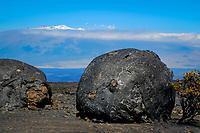 Mauna Kea volcano viewed from the 9000ft elevation of Mauna Loa volcano 13679 ft, Lava bombs, Hawaii, USA Volcanoes National Park, The Big Island of Hawaii, USA