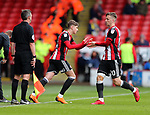 David Brooks of Sheffield Utd replaces Lee Evans of Sheffield Utd during the championship match at the Bramall Lane Stadium, Sheffield. Picture date 28th April 2018. Picture credit should read: Simon Bellis/Sportimage