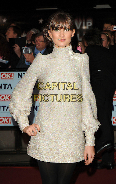 CHARLEY WEBB.attending The National Television Awards 2006, Royal Albert Hall, London, England,.31st October 2006..half length silver biba dress bell puff sleeves hand on hip fringe charlie.CAP/ BEL.©Tom Belcher/Capital Pictures.