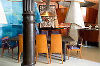 art deco dining room<br /> <br /> Michael Somoroff, internationally acclaimed director, photographer, and conceptual artist, renovated this 2800 sq. ft. loft in the Cast Iron district in Soho in New York City.