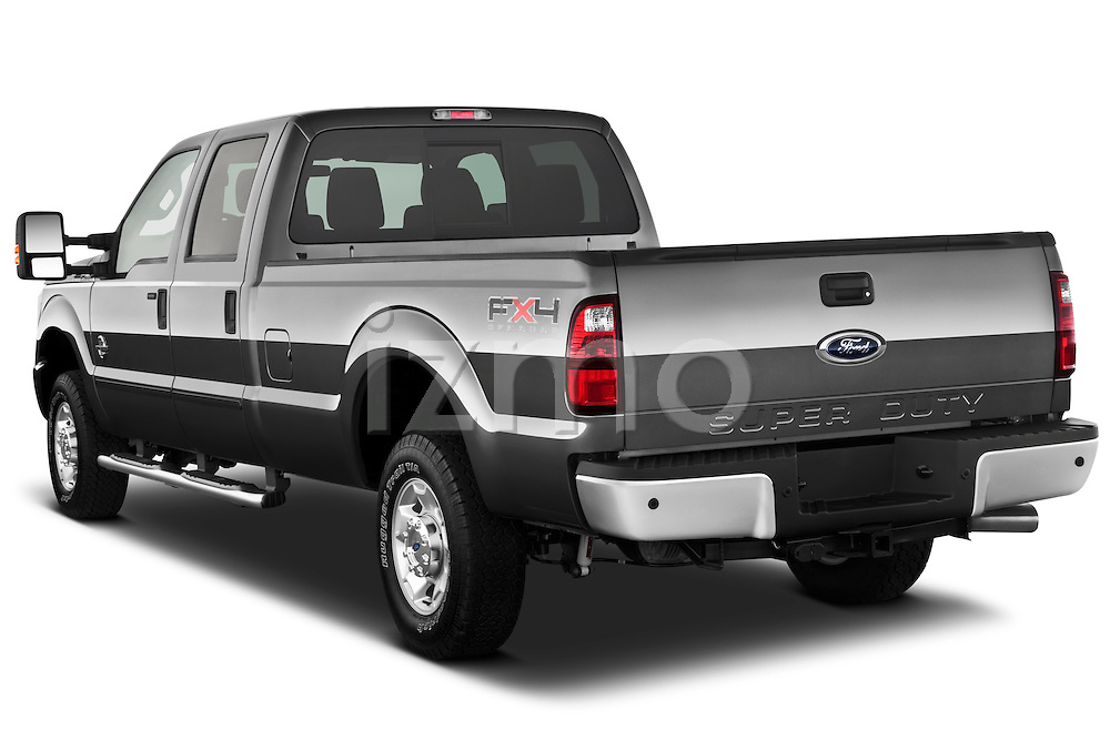 Rear three quarter view of a 2011 Ford F-250 Crew Cab 4x4