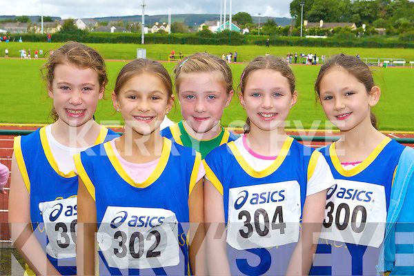 Spa/Muckross AC athletes at the Munster B championships in Castleisland on Sunday l-r: Emma Dineen, Sarah Leahy, Keeley O'Connor, Tara Fitzgerald and Mia Brennan.