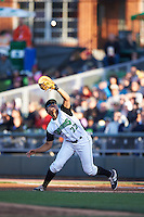 Dayton Dragons first baseman Avain Rachal (22) catches a popup during a game against the Great Lakes Loons on May 21, 2015 at Fifth Third Field in Dayton, Ohio.  Great Lakes defeated Dayton 4-3.  (Mike Janes/Four Seam Images)