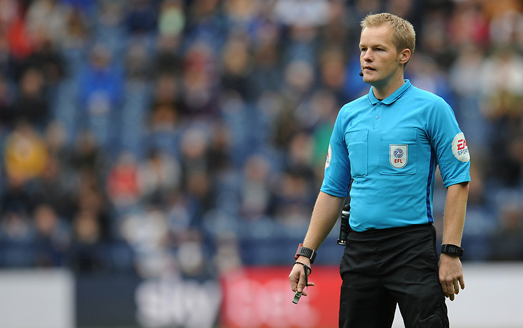 Referee Gavin Ward<br /> <br /> Photographer Kevin Barnes/CameraSport<br /> <br /> The EFL Sky Bet Championship - Preston North End v Barnsley - Saturday 5th October 2019 - Deepdale Stadium - Preston<br /> <br /> World Copyright © 2019 CameraSport. All rights reserved. 43 Linden Ave. Countesthorpe. Leicester. England. LE8 5PG - Tel: +44 (0) 116 277 4147 - admin@camerasport.com - www.camerasport.com