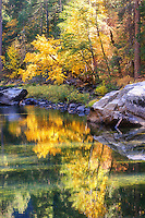Autumn colors reflect in the Merced River
