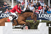 28th September 2017, Real Club de Polo de Barcelona, Barcelona, Spain; Longines FEI Nations Cup, Jumping Final; Pieter DEVOS (BEL) riding Espoir during the first round of the Nations Cup