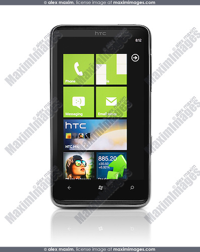 HTC HD7 Smartphone Windows 7 Phone cut out stock photo ...