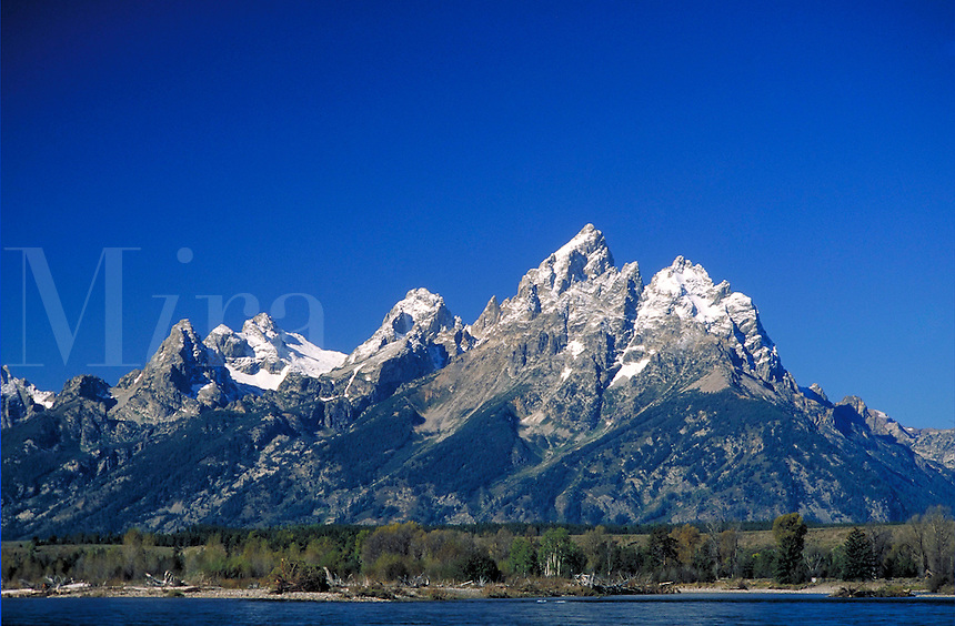 Grand Tetons with Snake River in foreground. Grand Teton National Park Wyoming USA.