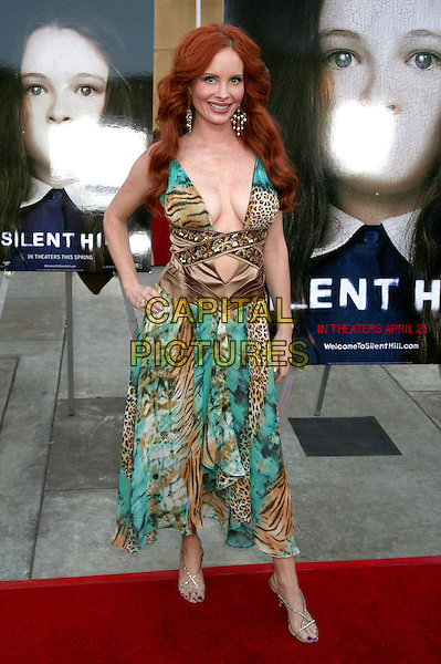 """PHOEBE PRICE.Los Angeles Premiere of """"Silent Hill"""" at the Eqyptian Theater, Hollywood, California, USA,.20 April 2006..full length green patterned print dress.Ref: ADM/BP.www.capitalpictures.com.sales@capitalpictures.com.©Byron Purvis/AdMedia/Capital Pictures."""