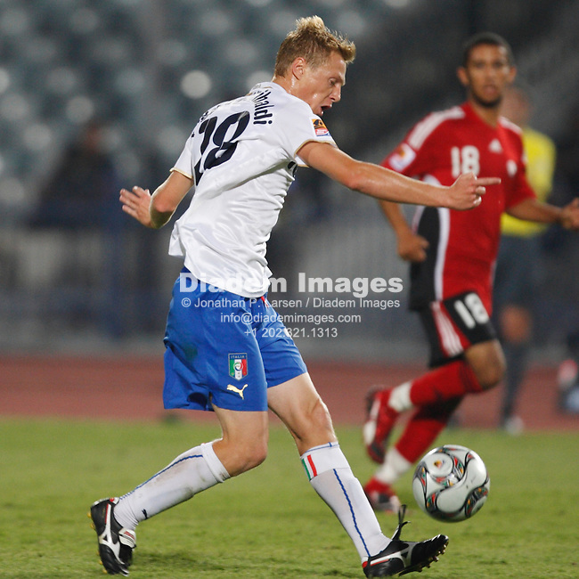 CAIRO, EGYPT - SEPTEMBER 28:  Silvano Raggio of Italy passes the ball during a FIFA U-20 World Cup soccer match against Trinidad and Tobago September 28, 2009 in Cairo, Egypt.  (Photograph by Jonathan P. Larsen)