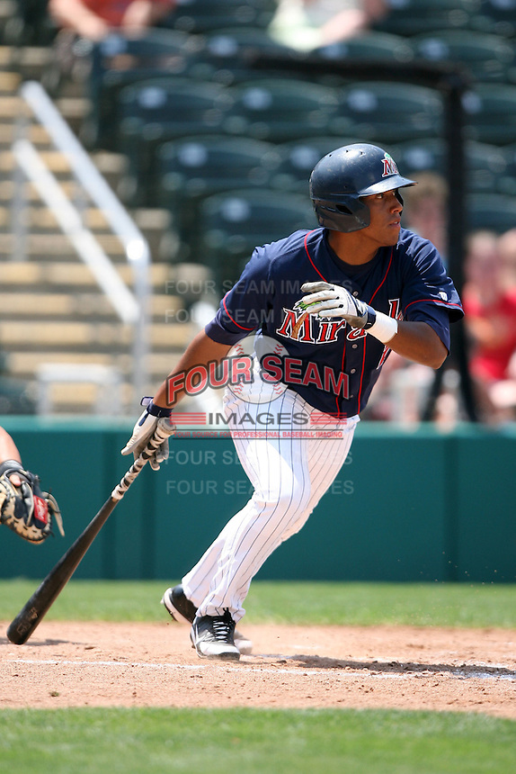 April 13, 2009:  Designated Hitter Yangervi Solarte of the Fort Myers Miracle, Florida State League Class-A affiliate of the Minnesota Twins, during a game at Hammond Stadium in Fort Myers, FL.  Photo by:  Mike Janes/Four Seam Images