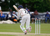June 12th 2017, Trafalgar Road Ground, Southport, England; Specsavers County Championship Division One Day Four; Lancashire versus Middlesex;  Haseeb Hameed at the crease during the second Lancashire innings; Middlesex were all out this morning and set Lancashire a target of 108 to win the match