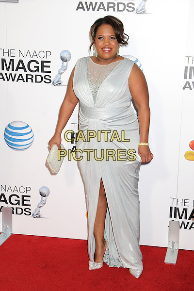 Chandra Wilson.44th NAACP Image Awards - Arrivals held at the Shrine Auditorium, Los Angeles, California, USA, .1st February 2013..full length white dress ruched sheer clutch bag slit split .CAP/ADM/BP.©Byron Purvis/AdMedia/Capital Pictures.