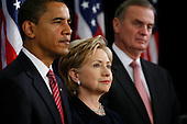 Chicago, IL - December 1, 2008 -- United States President-elect Barack Obama gives a press conference to introduce nominees United States Senator Hillary Rodham Clinton (Democrat of New York), for Secretary of State, middle, and retired Marine General James L. Jones, right, as national security adviser.  Obama also introduced Washington Lawyer Eric Holder, for Attorney General, Arizona Governor Janet Napolitano, for homeland security secretary, and Susan Rice as United Nations ambassador Monday morning, December 1, 2008 at the Chicago Hilton & Towers in Chicago, Illinois. Obama said he would keep defense secretary Robert Gates in his current post.  .Credit: Anne Ryan - Pool via CNP