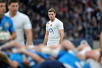 George Ford of England watches a scrum. RBS Six Nations match between England and Italy on February 14, 2015 at Twickenham Stadium in London, England. Photo by: Patrick Khachfe / Onside Images